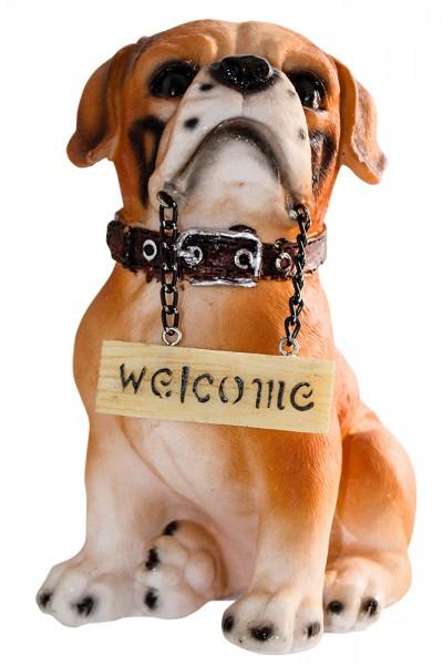 Hund sort.m WELCOME-Schild 6 Modell H15cm