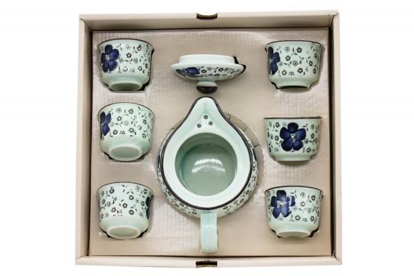 Teeservice mit blauen Blüten im 7er Set