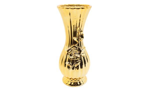 Deko Vase mit Rose verziert H 29cm
