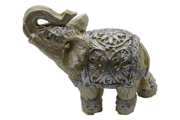 Beige Elefanten aus Polyresin im 7er Set