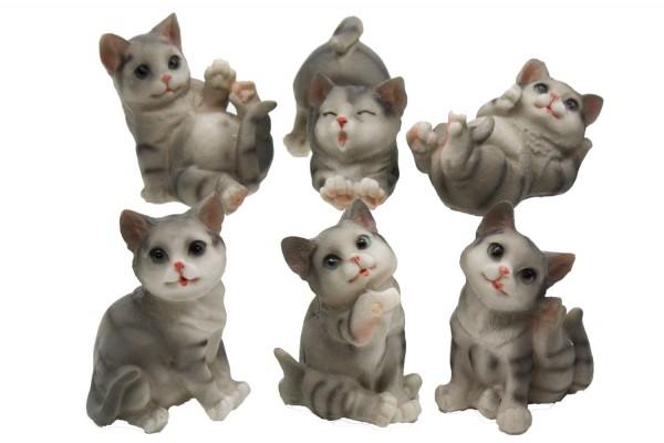 Katze aus Polyresin in 6er Set Mass: h 5-10cm b6-9cm