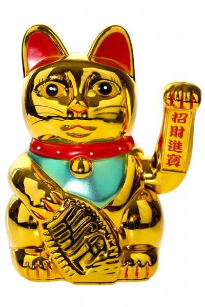 Glückskatze, Winkekatze, bewegend Katze Golden Farben