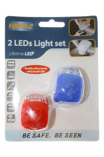 Fahrrad-Lampe, Licht in Blau und Rot, leicht montierbar