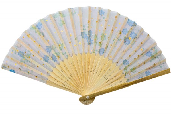 Faecher aus Bambus mit Stoffüberzog L20,5cm; b=37cm