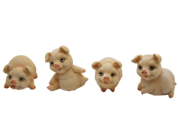 Schweinchen aus Polyresin in 4er Set Mass: h 5-7cm