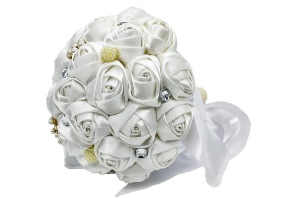 Weißer Hochzeits Blumenstrauß aus Satin mit Diamanten