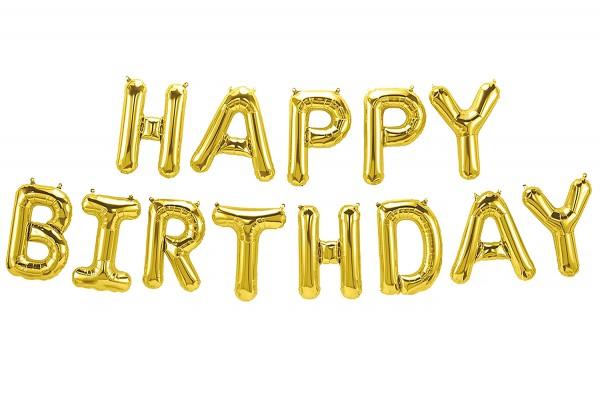 Happy Birthday Folienballon, luftballons, Golden Farbe
