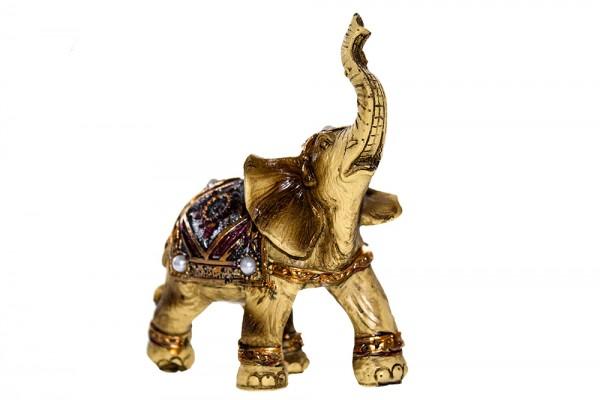 Elefant aus Polyresin mit Perle Schmuck b9cm h10,5cm