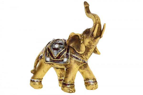 Elefant aus Polyresin mit Perle Schmuck b15cm h 17cm