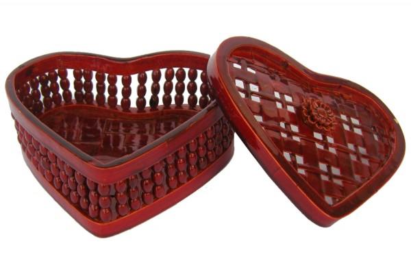 Bambusbehaelter Herzform mit Deckel b=12cm h=5,5cm