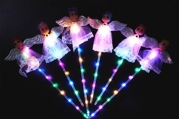 LED RGB Leuchtstab mit Schutzengel und Schalter, Partyartikel, Eventlights Leuchtwedel.