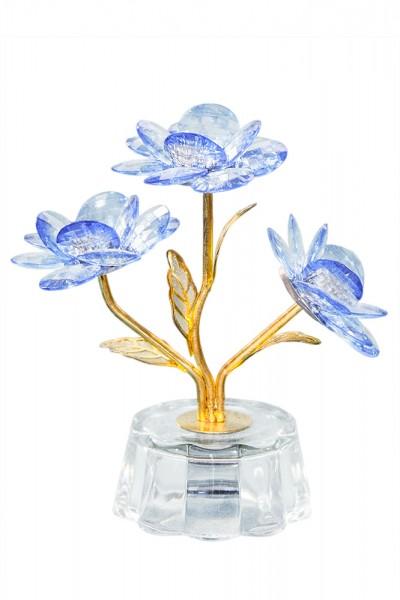 Glas drei Blumen Led Beleuchtung h9cm b9cm