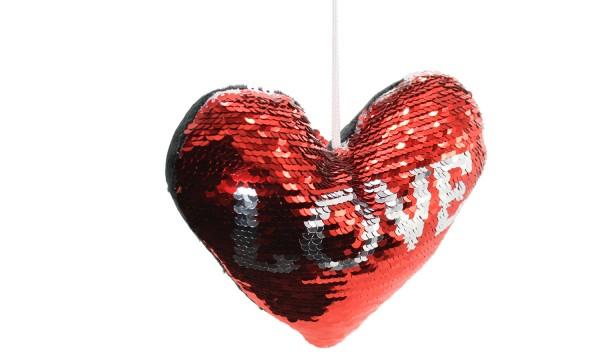 Pailletten Schlüsselanhänger, Magic Reversible Pailletten Glitter Schlüsselanhänger LOVE