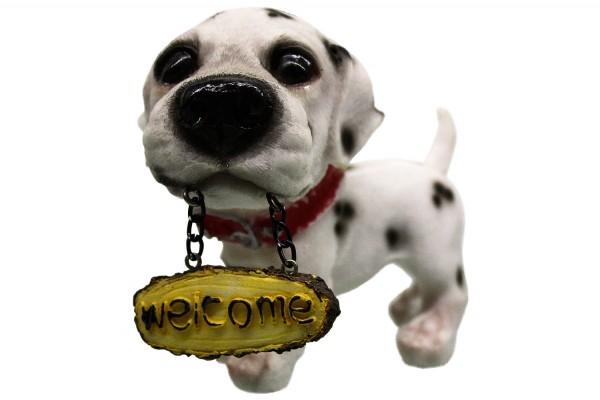 Hund mit Willkommen Schilder 8 Modell L9-10cm