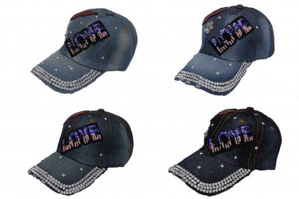 Jeans Kappe mit Glitzersteinen