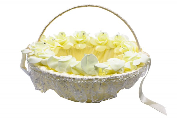 Hochzeitskorb in weiß / Streukörbchen für Blumenkinder in weiß mit Schleifen