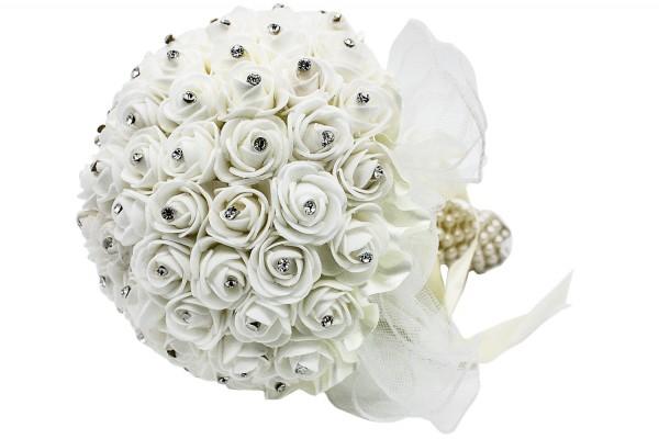 Hochzeits Rosen Blumenstrauß aus Kunststoff mit Steinchen