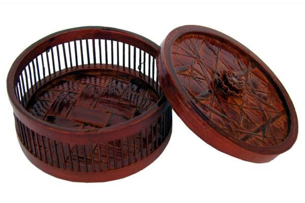 Bambusbehaelter Rundform mit Deckel d=10,5cm h=6cm