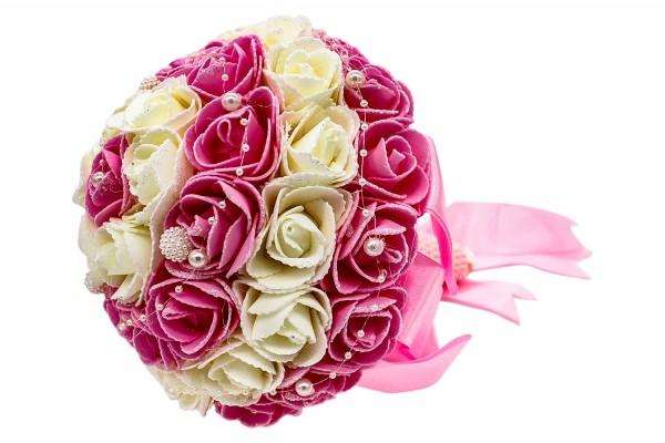 Rosa/Weiß-farbener Hochzeits Rosen Blumenstrauß aus Kunststoff mit Perle