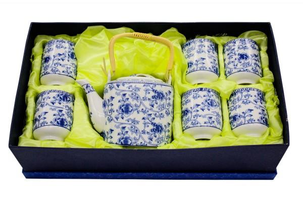 7 tlg Tee Set in Geschenkbox Kanne h10,5cm, Tasse h8cmXd6cm