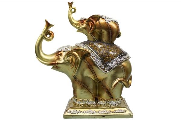 Elefanten aus Polyresin mit Baby Elefant auf den Rücken b17cm h20cm