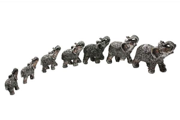 Silberne Elefanten aus Polyresin im 7er Set