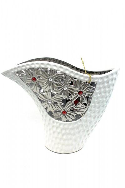 Deko Vasen mit rot-silber Steinverziert h25cm b 30cm
