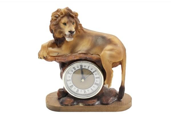 Loewe mit Uhr aus Polyresin h21cm