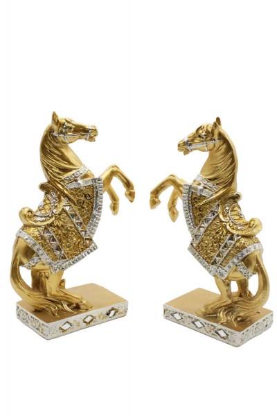 2er Set Goldene Pferde Figuren H:20,5cm