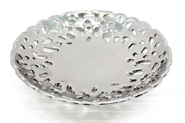 Ceramic Obstkorbe silber Farbe d26cm