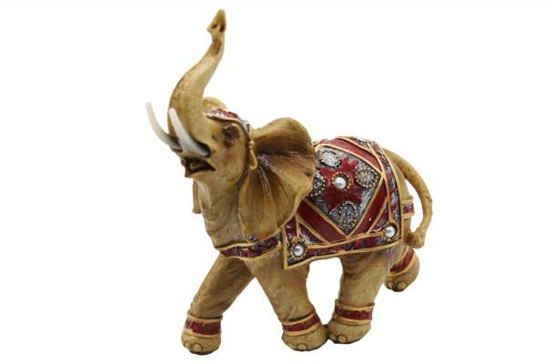 Elefant aus Polyresin mit Perle Schmuck b18cm h 24cm