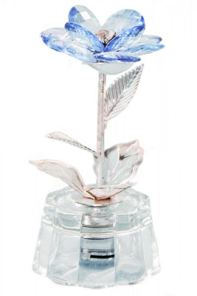 Glas Blumen(ein) mit Led Beleuchtung h8.5 b4cm