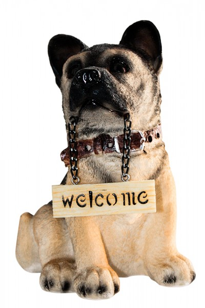 Hund sort.m WELCOME-Schild 6 Modell H15cm
