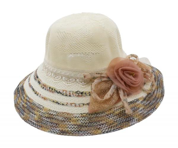 Farbenfroher Schlapphut mit Stoffblume Sommerhut Damenhut