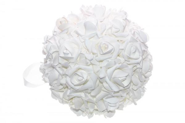 Weiß glitzernde Rosenkugel d20cm
