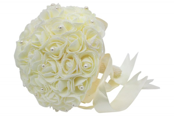 Creme-farbener Hochzeits Rosen Blumenstrauß aus Kunststoff mit Perlen