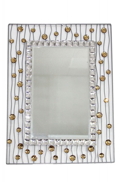 Deko Wandpiegel mit kuenstl. Diamanten 60x45,5cm