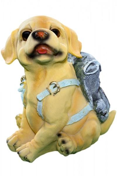 Hund mit Rucksack aus Polyresin als Spardose 6 Modell mix, Mass: h18cm b13cm