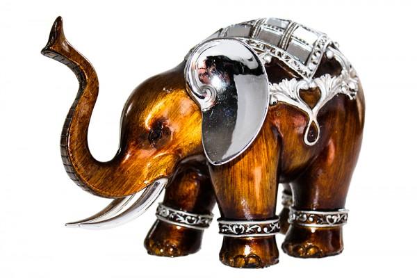 Elefanten mit Spiegelstein aus Polyresin
