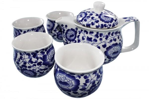 5 tlg Tee Set in Geschenkbox Kanne h8,5cm b16cm Tasse d6,5cm