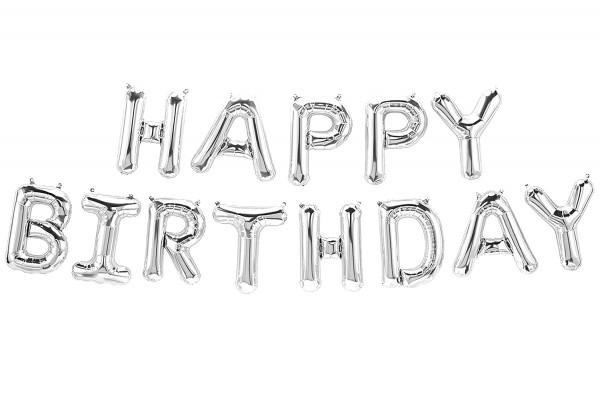 Happy Birthday Folienballon, luftballons, silber farbe