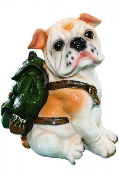 Hund mit Rucksack aus Polyresin als Spardose, Mass: h18cm b13cm