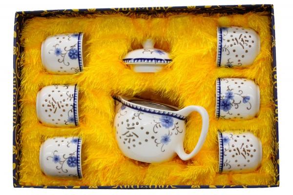 Teeservice aus Porzellan im 7er Set