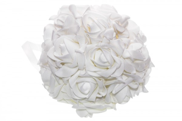 Weiß glitzernde Rosenkugel d14cm