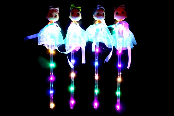 LED RGB Leuchtstab mit Schutzengel und Schalter, Partyartikel, Eventlights Leuchtwedel
