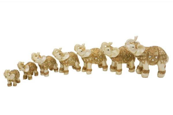 Elefanten aus Polyresin in 7er Set Mass: b 5-9cm, h5-10cm